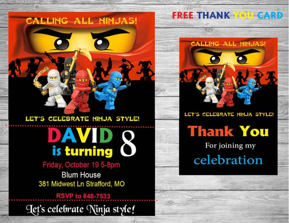 Ninjago Party Birthday Invitation Free Thank You Card