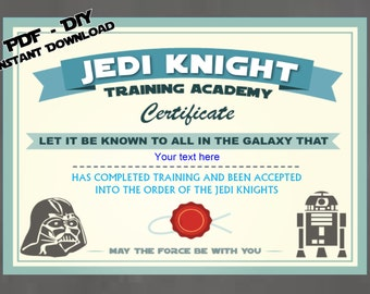 instant dl personalized jedi knight certificate star wars birthday party printable