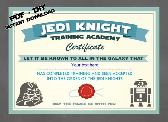 INSTANT DL Personalized Jedi Knight Certificate Star Wars