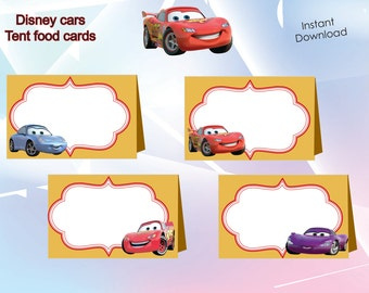 Disney cars Food Labels, Food Tents Cards Tags, Disney cars Party Printable, INSTANT DOWNLOAD