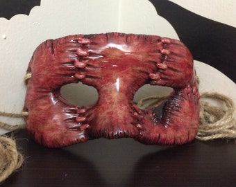 All Stitched Up!  Harvester Version.  Handmade Masquerade Mask, Free Standard Shipping Within the U.S.