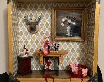 """Murder Obscura No. 13.  """"Stitch n'Bitch"""" Miniature Dollhouse Diorama"""