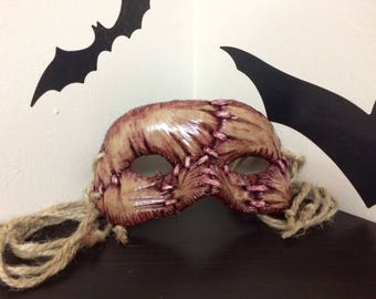 All Stitched Up!  Weathered Version.  Handmade Masquerade Mask, Free Standard Shipping Within the U.S.