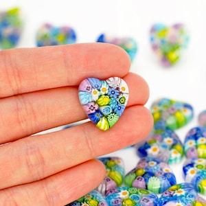 Multicolor Heart Millefiori Pendant for craft project by Murano Glass Venetian Glass Mosaic Pendant B Grade