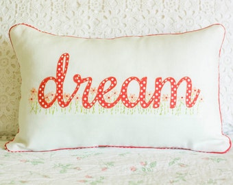 Appliqued Hand Embroidered  Piped Dream Pillow