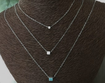 19545618246e09 Sterling silver chain necklace minimal short silver cube Chocker dainty  morden necklace Silver Filled Cube choker, minimalist necklace