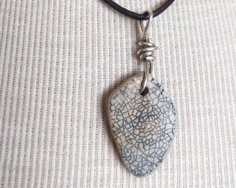 Maine Beach Pottery Shard Necklace/Pendant/Cool Design/Sterling Wire Wrapped Leather/Jewelry/Urban Boho