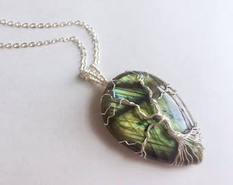 SPECIAL!!! Tree of Life Necklace in Silver, Labradorite Necklace, Flashy Labradorite, Tree of Life Pendant Necklace - for Her, byJTSjewelry