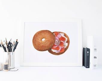Salmon Bagel - Mandie's Food Illustration Art Print