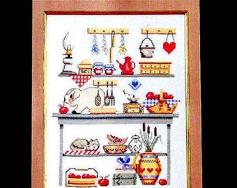 "CROSS STITCH KIT/ ""Le Cellier"" ""The Pantry"" by Margot de Paris/ A Kitchen Still Life / Dmc  & Fabric included./Ideal for Beginners//On Sale"
