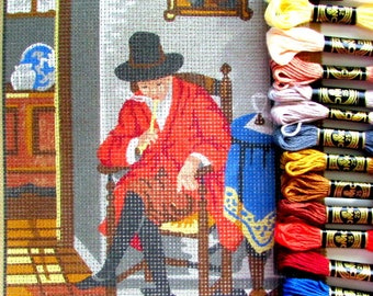 NEEDLEPOINT KIT*//a Gentleman Sitting on a Chair Smoking a Pipe. a Vintage  Needlepoint of Country Life.//Was (30.00 dollars) Now!