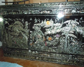 Korean Black Lacquer Mother of Pearl Wardrobe, 1000 Cranes, 3 Cabinets 6 Drawers
