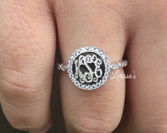 f4af59c424 Lexie Monogram Ring - Monogram Round Ring - Personalized Round Ring - Round  Ring - Monogram Ring
