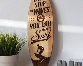 Surfboard wall art - nautical wall decor - surfboard art - surfboard sign - surfboard wall decor