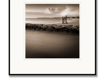 Black and white photography, sepia prints, Cape Cod photography, Falmouth Jetty, Lifeguard Chair, Landscape, Framed Photo, Cape Cod Beach