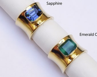 Wide Band Rings For Women, Thick Ring Gold, Green Stone Ring For Women, Blue Cocktail Rings, Blue Rings For Woman, Gold Chunky Rings
