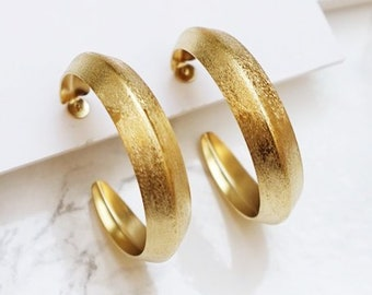 a9baf20bc Thick Gold Hoops, Gypsy Earrings, Big Hoops, Gold Chunky Hoops, Wide Hoops  Earrings, Mother's Day Gift, Modernist, Gipsy Earrings For Women