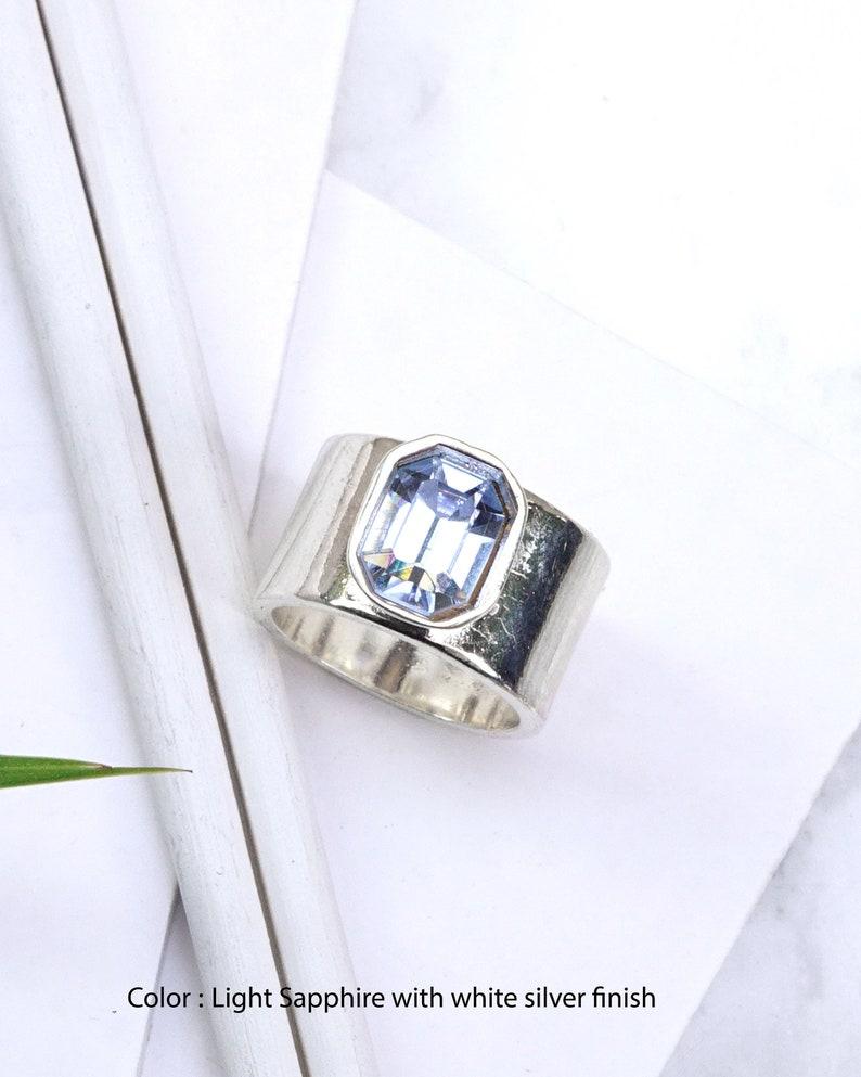 6b21ea192b48a Light Blue Swarovski Ring, Chunky Ring, Octagon Ring, Baby Blue Swarovski  Ring, Wide Ring, Statement Ring, Emerald Cut Rings For Women