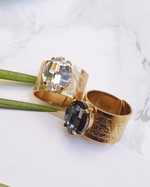Big Stone Ring Swarovski Crystal Ring Gold Silver  2d65b7cc2a