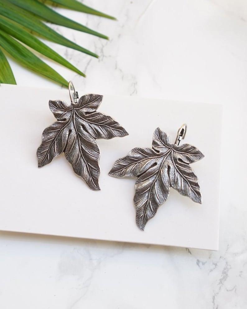 Every Day Dangle Earrings For Women Silver Leaf Drop Earrings Big Leaf Earrings Big Earrings Leaf Dangle Earrings