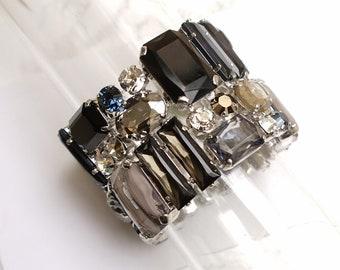 Statement Bracelet, Stretch Bracelet, Crystal cuff, Swarovski Bracelet, Wedding Jewelry, Cuff Bracelet, Big Bracelet, Chunky bracelet