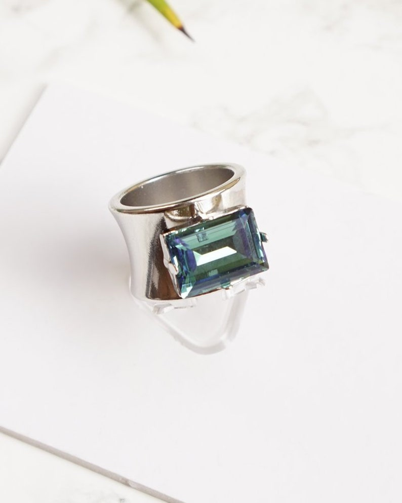 bd51bed96ac19 Emerald Cut Ring, Swarovski Rings, Blue Cocktail Rings, Solitaire Ring For  Women, Chunky Ring, Unique Rings Emerald Cut Crystal Ring For Her