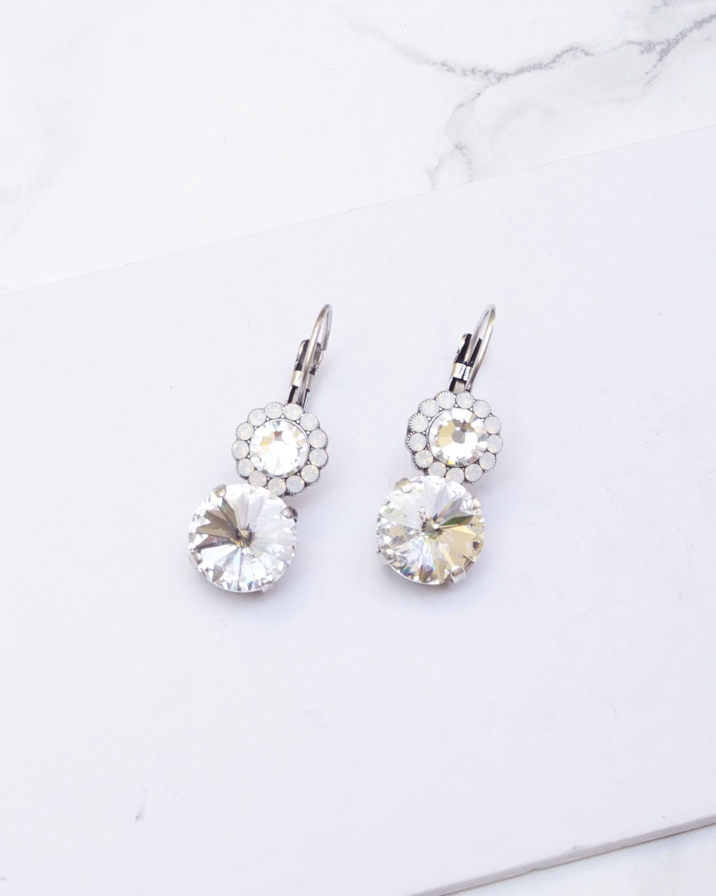 The Best Wedding Earrings Bridesmaid Silver Hook Earrings White 10mm Swarovski Crystal Jewelry & Watches Bridal & Wedding Party Jewelry