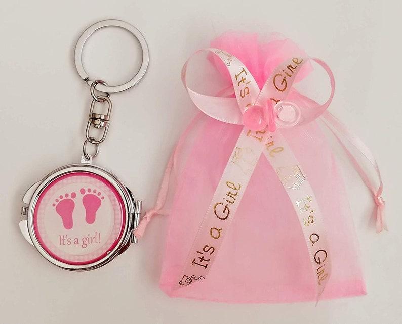 c0092ab74 12 Its a Girl Key Chain Mirrors  12 Organza Recuerdos Baby