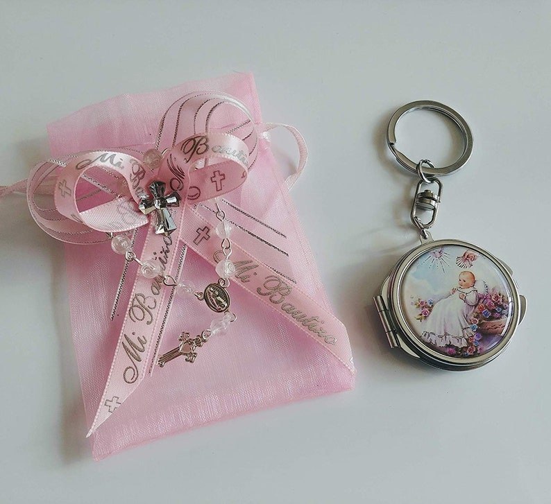 12 BAPTISM PARTY FAVORS KEYCHAIN Pink ANGEL GIRL NINA BAUTIZO LLAVEROS RECUERDOS