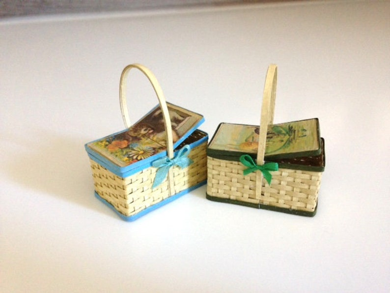 Dollhouse miniature kitch woven lidded basket  puppies or image 0