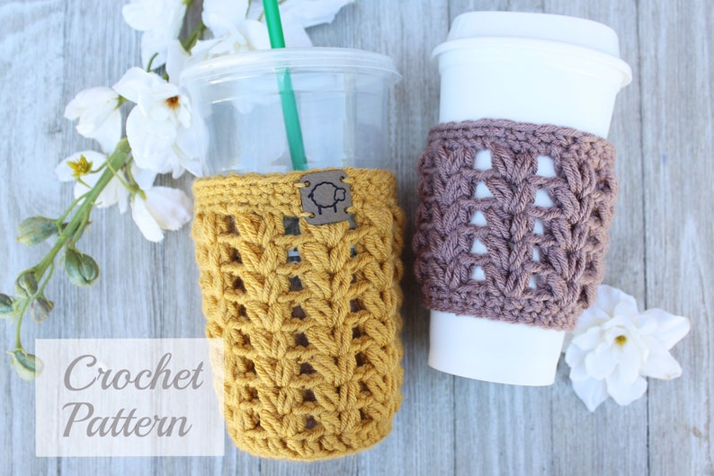 Puff Stitch Coffee Cozy Pattern PDF PATTERN Digital File image 0