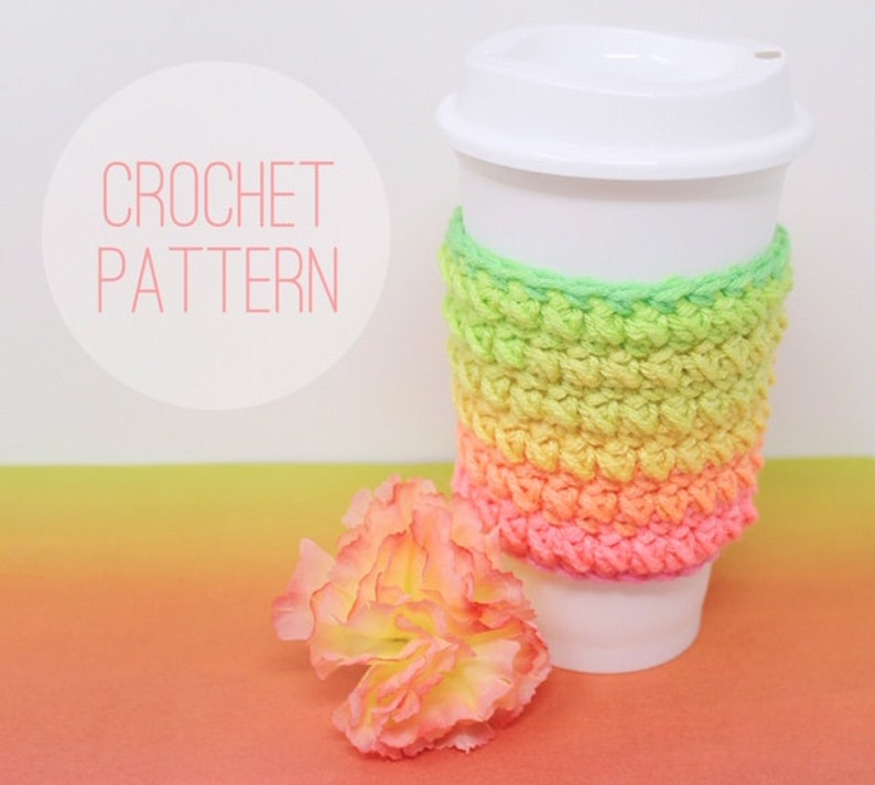 Mini Puff Stitch Coffee Cozy PATTERN ONLY PDF File Coffee image 0