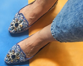 Blue Embellished Shoe, Blue Pointed Toe Shoes, Womens Printed Slip On Flats, Boho Shoes, Embroidered Shoes, Ballet Shoes, Esme