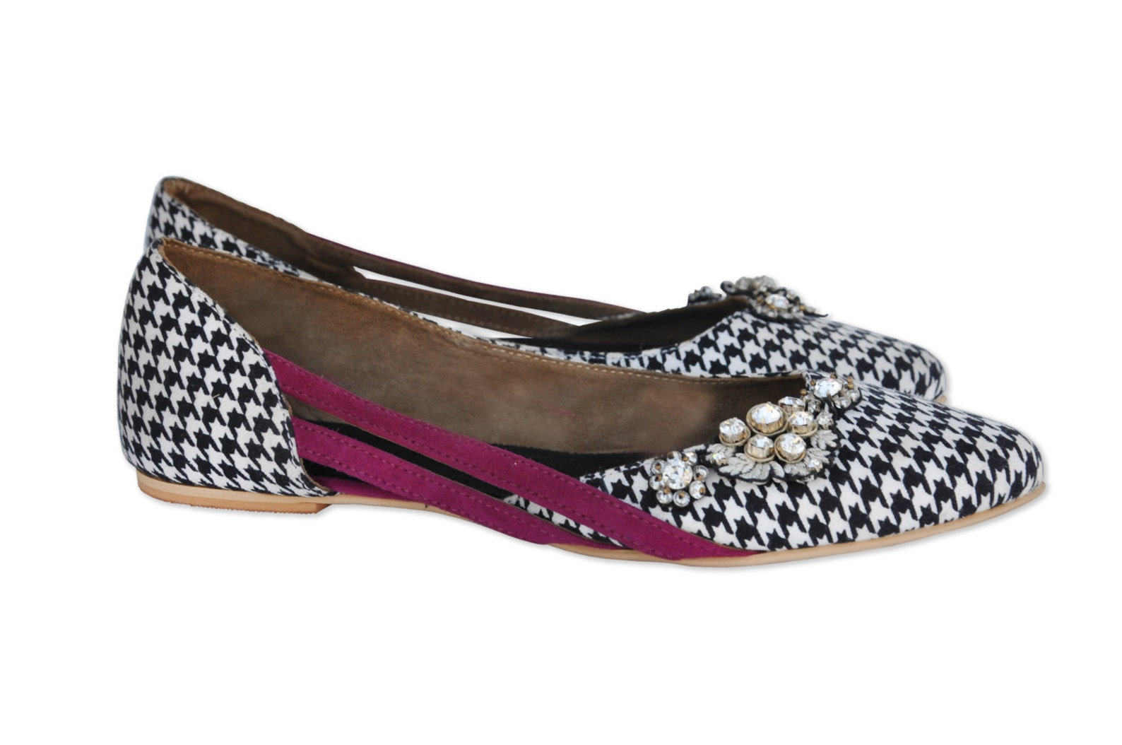 classic flats, bohemian ballet shoes, pointed toe shoe, womens shoes, houndstooth ballerina shoes, hand embroidered ballerina fl