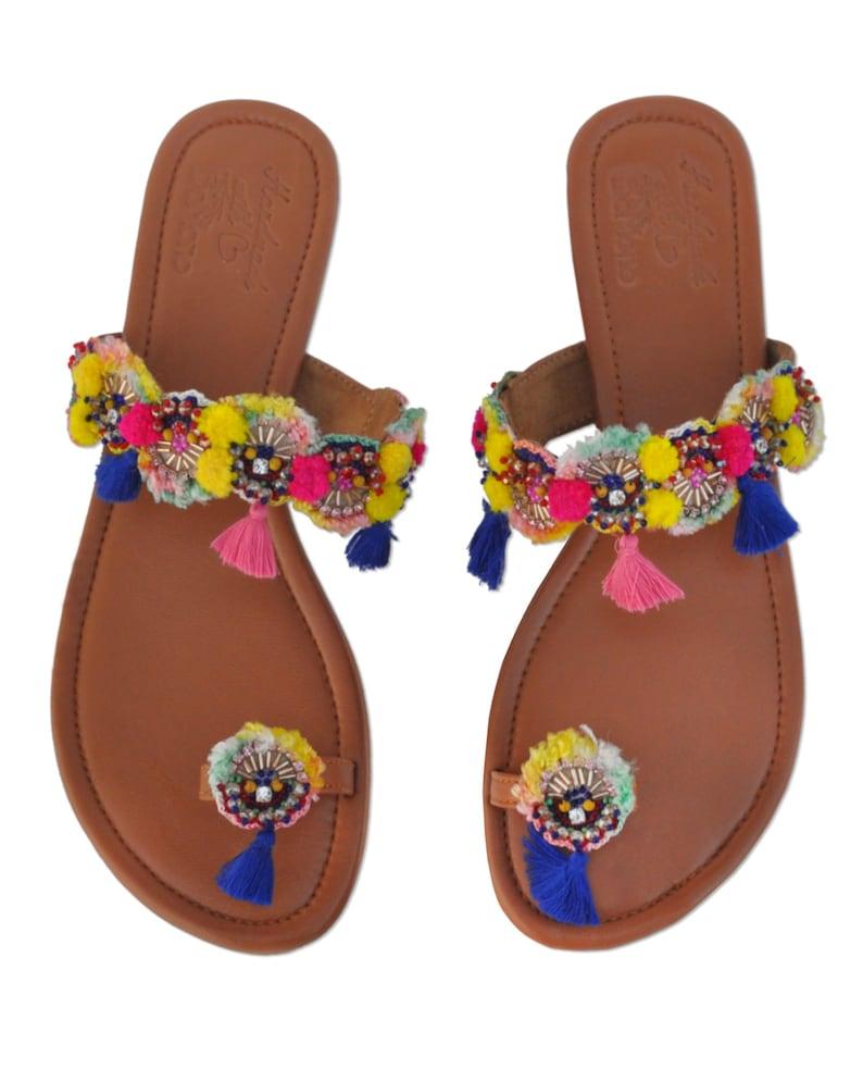 66403a996f08 Pom Pom Sandals Beaded Sandals Bohemian Footwear Tassel