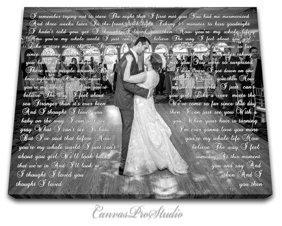 Anniversary Day Gift First Dance Lyrics Picture With Wedding Etsy