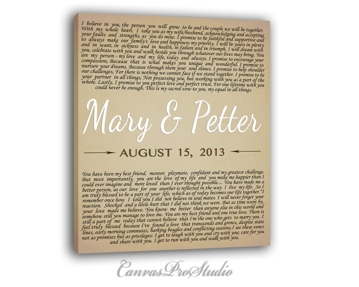 Wedding Vows Gift: Custom Wedding Vows. Gift For Just Married Couple .