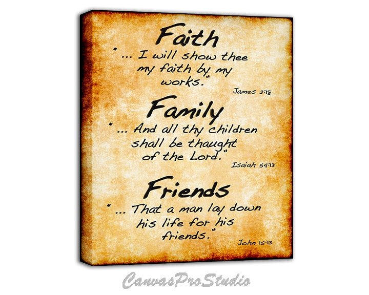 Faith Family Friends / Bible Verse on Canvas / Christian Art/