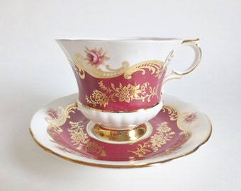Paragon Pembroke Teacup and Saucer, Vintage Paragon J Pattern Bone China Teacup, Burgundy Red  Gold Pink Rosebud Teacup, Made in England