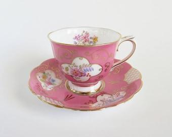 Royal Albert Pink Teacup and Saucer, Vintage Royal Albert Bone China, Floral Tea Cup Pattern 1459, Antique Teacup, Gift for Tea Lover