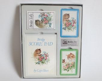 Vintage chaton pont ensemble, ensemble de deux chaton Sealed Deck de cartes Bridge Tally et Score Pad, ensemble Cape Shore Bridge, cartes à jouer chaton