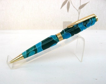 Hand Made Blue and Green Acrylic Ball Point Pen with Velvet Pouch