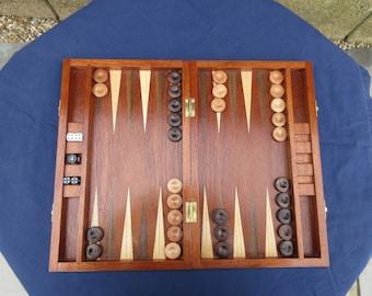 Sapele Wood Backgammon Set - Handmade Unique