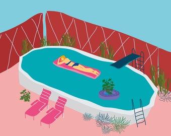 Pink swimming pool