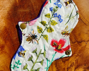 Bee cloth pads, bee sanitary pad, reusable panty liners, flower panty liner, cotton pad fairy, tween teen pad, bee 7 inch liner affordable