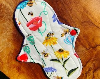 cloth pads bee panty liners, eco menstrual pad, flower re-usable pad, moon days, panty liner, menstrual pad, eco cotton pad, fox cloth pads