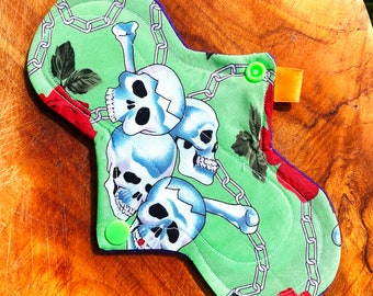 Skull cloth pad, skull and roses panty liner, cotton panty liners, reusable period pads, flared cloth pad, affordable cloth pad, cloth pads