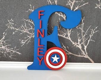 01ef490323b Handmade Personalised Door Sign Plaque Captain America Super hero Marvel  Boys Bedroom Decorations