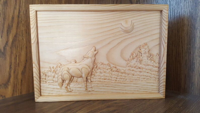 Cedar wood wooden 3d engraving craved relief howling wild wolf etsy