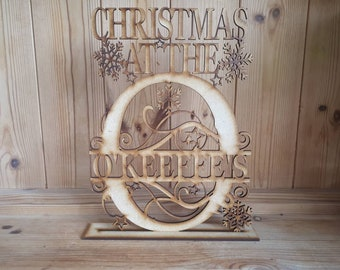 Christmas At The .... wooden sign - Freestanding - Split letter - Personalised xmas sign with Surname
